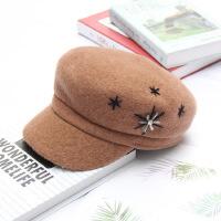 茉蒂菲莉 鸭舌帽 欧美新款羊毛呢帽子英伦复古礼帽 女士秋冬鸭舌帽水钻八角贝雷帽