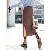 高腰包臀半身裙秋装女2018新款冬季修身中长款开叉一步裙针织裙子