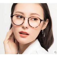时尚复古防蓝光眼镜电脑镜女 户外新款圆形大框防辐射护目镜 休闲百搭平光镜