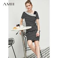 Amii极简法式小众V领连衣裙2021夏新款条纹裙子女印花露肩锁骨裙\预售8月2日发货