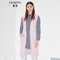 海贝2017秋季新款女装外套 简约V领无袖修身显瘦中长款针织开衫