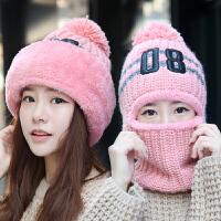 毛线帽子女冬季护耳帽骑行骑车保暖冬天围脖一体帽潮