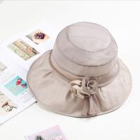 新款桑蚕丝帽子女夏天遮阳帽可折叠防晒帽真丝大沿帽沙滩帽夏季百搭 XL(60cm以上)