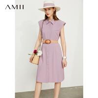 Amii极简设计感小众无袖连衣裙女2021夏新款垫肩中长款衬衫背心裙