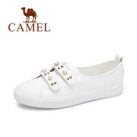 Camel/骆驼女鞋秋季新款休闲魔术贴球鞋懒人鞋 舒适百搭珠饰板鞋女
