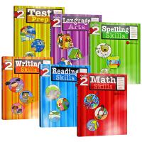 英文原版 Flash Kids 美国小学二年级英语练习册6册 阅读 写作 测试 拼读 数学技巧 语言艺术Reading