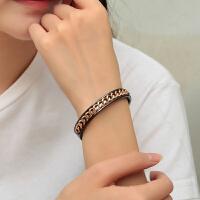 手镯女复古黑色钛钢个性链条手环潮配饰品生日礼物