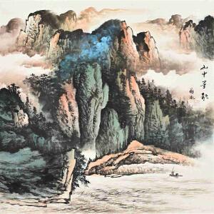 当代著名画家薛永69 X 69CM山水画gs01459