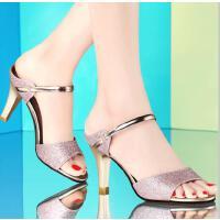 拖鞋女夏时尚外穿百搭韩版室外古奇天伦新款夏季高跟细跟性感8009-1