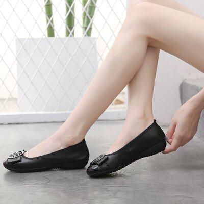 头层牛皮春秋平底浅口单鞋软底女鞋妈妈鞋豆豆鞋瓢鞋船鞋