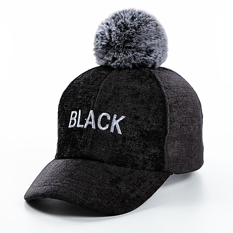 小学生帽子 秋冬鸭舌帽韩版加厚棒球帽毛呢保暖毛球男女儿童户外