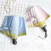 包邮 17年新款 创意麦穗卡通兔三折叠黑胶防晒防紫外线太阳伞女士遮阳晴雨伞