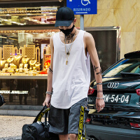 白色背心男打底衫潮牌街头嘻哈宽松沙滩运动汗衫夏季无袖T恤坎肩