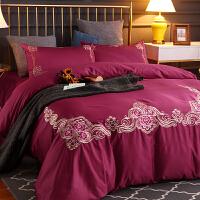 全棉简约床上四件套刺绣双人被套1.8m米床笠欧式床上用品 2.0m(6.6英尺)床 床单款【铺在床上】