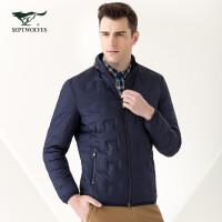 七匹狼羽绒服 青年男士纯色保暖立领羽绒服 时尚休闲加厚羽绒外套