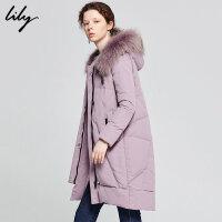 【超品日2折价579.8元】Lily冬时尚白鸭绒宽松直筒毛领中长款连帽羽绒服1E47