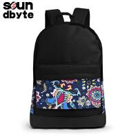 【支持礼品卡支付】韩版学生书包印花帆布双肩包女休闲旅行电脑背包21060A