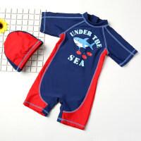 新款可爱卡通短袖速干儿童泳衣 婴儿宝宝泳帽泳裤套装 男童连体中大童游泳衣
