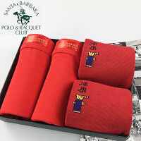 圣大保罗POLO男士莫代尔本命年红色平角内裤袜子结婚喜庆2018新款