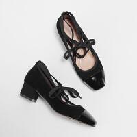 半屿纪新款复古绑带单鞋女中跟拼色方头两穿玛丽珍粗跟仙女潮