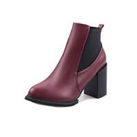 秋冬新款英伦风中跟马丁靴女短靴粗跟高跟鞋尖头女靴短筒女鞋松紧