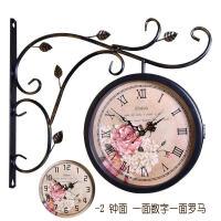 两面挂钟 天蓝复古装饰静音欧式双面钟美式个性钟表挂钟客厅工艺术时钟两面挂表 黑色-2罗马 -2数字 16英寸(直径40
