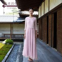 生活在左2019夏季新款文艺纯棉真丝七分袖连衣裙女装中长款长裙子