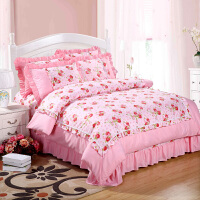 田园公主风床单四件套棉纯棉床裙花边被套被罩1.8m/2米床上用品