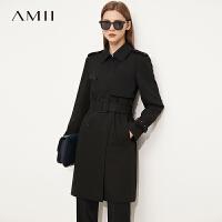 Amii极简博主风风衣外套女2021秋新款中长宽松双排扣配腰带上装