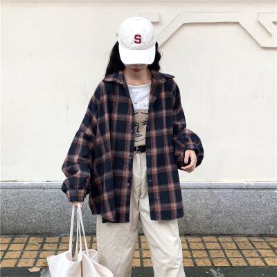 慵懒风ins格子衬衫外套女加厚宽松韩版chic港味复古韩范上衣毛呢   本产品为促销产品,限购一件,未经过客服同意,私自大量下单的一律不发货,并且不作为