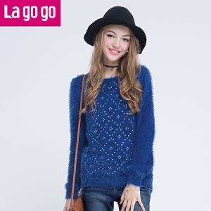 lagogo拉谷谷冬季纯色修身钉珠针织衫毛衣