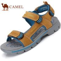camel骆驼男鞋 夏季新品 舒适透气牛皮露趾魔术贴户外沙滩凉鞋