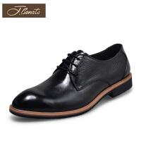 宾度正装皮鞋男牛皮商务男鞋系带德比鞋英伦尖头男皮鞋春季鞋子男
