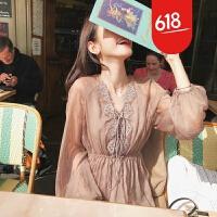 20180618143428830海边度假沙滩裙秋装新款复古文艺范仙女裙显瘦长袖刺绣连衣裙长裙 图片色