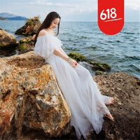 原创夏季气质一字领性感露肩荷叶边雪纺连衣裙海边度假沙滩长裙仙女裙GH04 白色