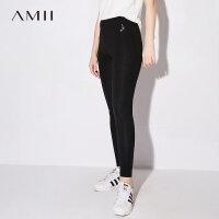 Amii极简修身显瘦百搭打底裤女外穿2018秋装新款高腰弹力纯色长裤.