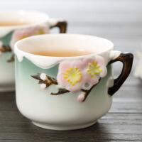 珐琅瓷手工彩绘茶杯创意立体鱼陶瓷小茶杯 品茗茶碗杯茶道