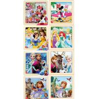 迪士尼拼图玩具 9片木制框拼八合一(米妮2667+米妮2686+公主2669+公主2688+冰雪2670+冰雪2689