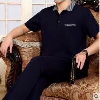 男短袖长裤中年大码爸爸装简约商务跑步服两件套中老年运动服套装