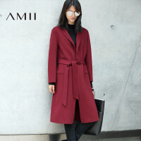 【1件7折/2件5折】AMII[极简主义]秋新款纯色翻领系带羊毛呢长外套女双面呢大衣