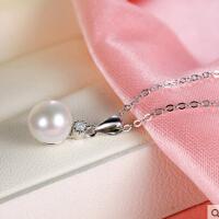 S925银项链女淡水珍珠项饰锁骨吊坠时尚银饰送女友生日礼物