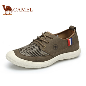 骆驼牌 男鞋 新品轻盈舒适系带休闲鞋网布透气低帮男鞋