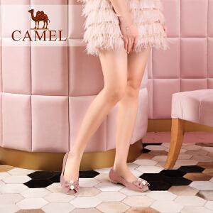 Camel/骆驼女鞋 2018春季新品时尚优雅蝴蝶结珠饰舒适平底单鞋女