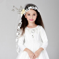 女童头饰 儿童婚纱礼服配饰 儿童头纱时尚披肩
