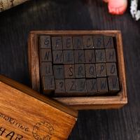 韩国复古木盒装英文字母数字符号印章 一套70枚入 两款选