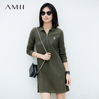 Amii[极简主义]秋冬时尚Polo领运动减龄长袖短连衣裙女11760693