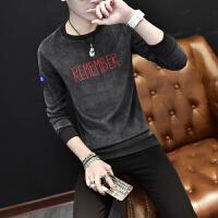 2018新款秋季保暖内衣韩版潮流学生男士灯芯绒秋衣上衣长袖薄款帅气可外穿 黑色 T696