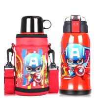 儿童保温水杯316不锈钢带吸管两用幼儿园小学生宝宝防摔壶 红色漫威(550ML) 304内胆