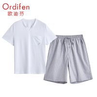 欧迪芬睡衣男薄款V领条纹简约休闲五分裤男士短袖家居服套装 XH0710