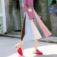 时尚a字半身裙子秋装女新款冬季韩版拼接中长款高腰格子伞裙
